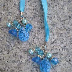 beaded bookmarks | Aqua Millefiore beaded bookmark | Gifted Hands