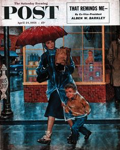 Boy Walking Under Mother's Raincoat | The Saturday Evening Post