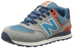 New Balance ML574 Herren Sneakers, Grau (Grey/Petrol/Orange), 44 EU / 10 US - http://uhr.haus/new-balance/44-eu-new-balance-ml574-schuhe-5-0-cadet