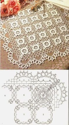 Crochet lace tablecloth square with flower and diamonds motif. Many beautiful filet crochet valances, curtains, doilies etc. Crochet Doily Patterns, Crochet Diagram, Crochet Chart, Crochet Squares, Thread Crochet, Crochet Granny, Irish Crochet, Crochet Designs, Crochet Doilies