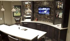 Where will you be watching all the games this Spring? How about a great spot like this in your home? Pictured here is Chapel Hill Stacked Stone from Eldorado Stone products.