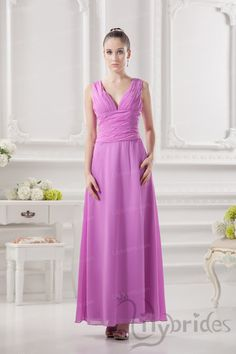 A-line V-neck Chiffon Ruffles Floor Length Bridesmaid Dress