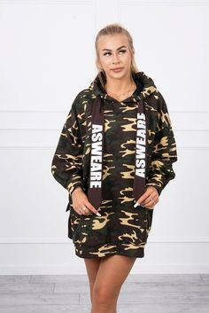 Rochie mini sport tip hanorac cu imprimeu army Camo Dress, Modeling, Overalls, Pocket, Spandex, Lady, Brown, Outfit, Sport