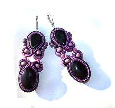 Soutache earrings - black, violet and pink earrings - $46.00
