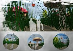 Architectural presentation_ Architectural Design_photoshop_THEME PARK_Gulliver's World_based in the book Gullivers' Travels_Brobdingnag_hybrid design approaches,using new technologies embedded in physical urban space