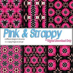 Digital Download Printable craft paper DIY gift wrapping paper and digital background Pink & Black Geometric Design