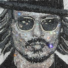 Awesome Swarovski Crystal Portrait of Johnny Depp Saatchi Online Artist Claire Milner ; Mosaic, Reflecting the Image #art