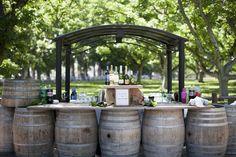 wine barrel table setup.