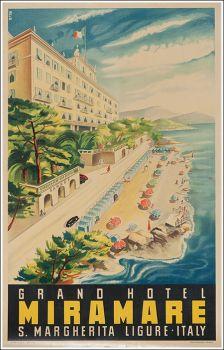 Artist Unknown poster: Grand Hotel Miramare S. Vintage Italian Posters, Vintage Travel Posters, Vintage Postcards, Vintage Luggage, Gran Tour, Sestri Levante, Italy Tourism, Santa Margherita, Grande Hotel