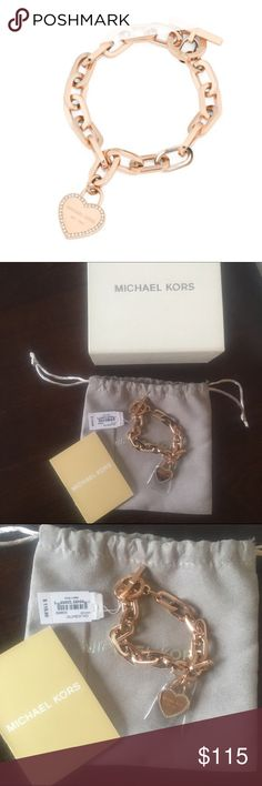 ✨NWT✨ Michael Kors Heart Logo Toggle Bracelet NWT! Authentic Michael Kors rose gold tone crystal heart logo toggle bracelet. Fits up to an 8 inch wrist. Comes with box, dust bag, and care booklet. ***No Trades*** MICHAEL Michael Kors Jewelry Bracelets
