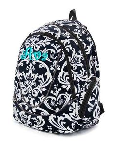 Children Personalized Backpack Black White Damask by parsik93, $30.99