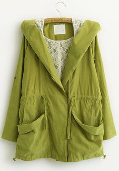 ++ Green Lace Collar Hodded Cotton Trench
