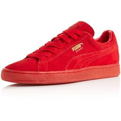 Puma Suede Classic Mono Sneakers ($65) ❤ liked on Polyvore featuring shoes, sneakers, red, sport sneakers, laced shoes, lace up shoes, puma shoes and red sneakers