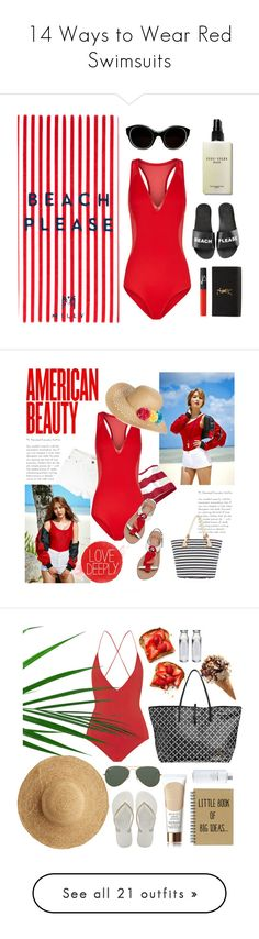 """14 Ways to Wear Red Swimsuits"" by polyvore-editorial ❤ liked on Polyvore featuring waystowear, redswimsuits, Milly, Bobbi Brown Cosmetics, Sonia Rykiel, Schutz, Yves Saint Laurent, NARS Cosmetics, Capelli New York and Kate Spade"