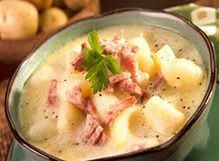 Crock Pot Ham & potato soup.. perfect for a cold day and only 151.7 calories per serving!