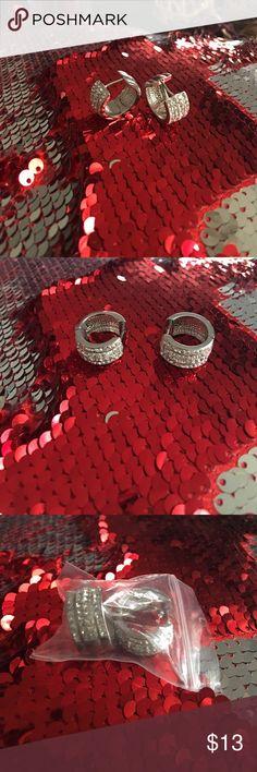 Sterling silver rhinestone earrings Silver Huggie earrings...beautiful shiny rhinestones 😍... Brand New ...Never worn... Jewelry Earrings