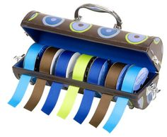 Creative Options 700-720 Portable PVC Ribbon Dispenser, Bullseye Dot with French-Blue Lining
