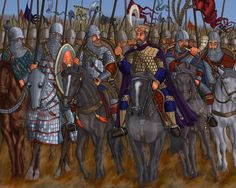 Emperor Basil II and his soldiers Military Art, Military History, Byzantine Army, Abbasid Caliphate, Historical Concepts, Greek Warrior, Empire Romain, Medieval World, Roman Soldiers