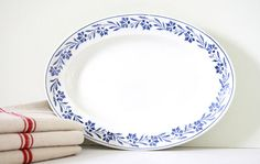 French antique faience plate Lunéville K et G. Large oval