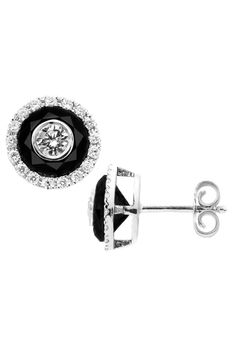 Bijoux Majesty 3.3 CT Black & White Diamond & Gold Earrings
