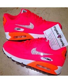 san francisco 1fb00 332d9 Nike Air Max 90 Swarovski Rose Blanche Orange Air Max Femme, Chaussure Pas  Cher,
