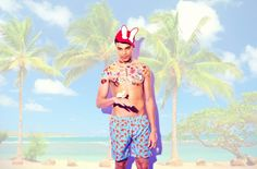 #swimwear #tropicalprint #menswear #SS12 Prints are tropical, floral and clashing. Fish Print Swim Shorts by #PinkHouseMustique at #MrPorter. Bunny hat by #BernstockSpeirs. Photographer: Mark Shearwood. Styling: Guy Hipwell.
