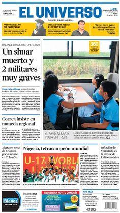 Portada de #DiarioELUNIVERSO del sábado 9 de noviembre del 2013.  Las noticias del día en: www.eluniverso.com