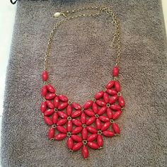 Necklace Beautiful red trendy necklace with gold chain,adjustable length,  can wear longer or short. Also come in black sash. NY Couture Jewelry Necklaces