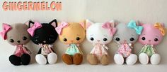 Gingermelon Dolls free kitty and bunny pattern