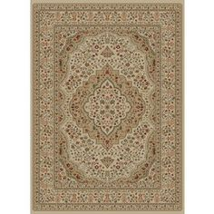 Concord Global Florence Rectangular Cream Floral Woven Area Rug (Common: 7-ft x 10-ft; Actual: 6.58-ft x 9.5-ft)