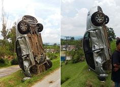 Após acidente, carro fica 'em pé' em rodovia de São Paulo   RedeTV! Em rede com você.