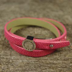 Bracelet Galuchat Pink Double Tour MONBARTH