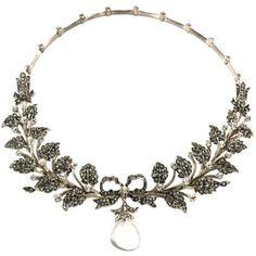 Edwardian sterling paste flexible collar with drop pendant. Unmarked - Ornamenti D'Autore di Deanna Farneti