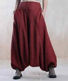P06-Casual-Loose-Low-Crotch-Elastic-Waist-100-Linen-Thick-Womens-Harem-Pants