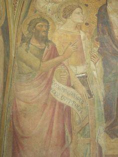 Niccolò di Pietro Gerini - Madonna in trono con bambino, dettaglio - affresco - Tabernacolo di Rovezzano