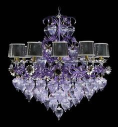 Chandelier - glass art by Murano glass artists Chandeliers, Glass Chandelier, Chandelier Lighting, Muebles Estilo Art Nouveau, All Things Purple, Beautiful Lights, Cool Lighting, Hanging Lights, Lamp Light