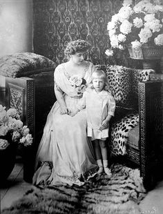 circa Marie - Queen of Romania with her son Nicolas. Marie was the daughter of Alfred, the Duke of Edinburgh (the second son of Queen Victoria), and she married Prince Ferdinand of Romania in Romanian Royal Family, Royal King, Bathing Costumes, Royal Blood, Kingdom Of Great Britain, Head Of State, Ferdinand, Prince Charles, Queen Victoria