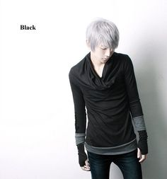e7349f99c Personality Men's Korean Leave Two cotton Long sleeve Pullover Leisure slim  T-shirt China (Mainland) T-Shirts