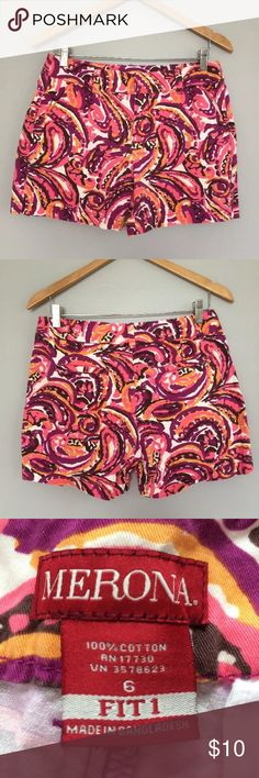 "Merino Target Printed 5"" Inseam Shorts Size 6 These are super cute and fun for the summer! The inseam is 5"" and the waist is 16 inches. These are the fit 1. Merona Shorts"
