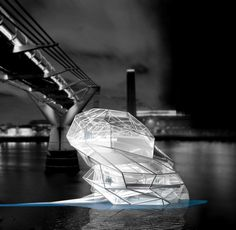 0°01' W Network in [e]motion [competition entry to design an adaptable floating gallery in London] by NOVAE Architecture