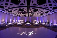Modern Wedding LED Centerpieces Complemented by Gorgeous Lighting & Gobo {Tonya Malay Photography} - mazelmoments.com