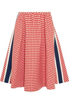 Prada - Paneled Houndstooth Wool Skirt - Red - IT38