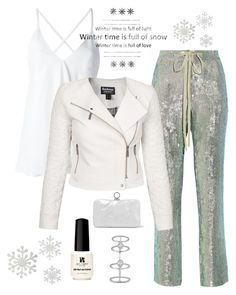 """""""Sequin Pants!"""" by im-karla-with-a-k ❤ liked on Polyvore featuring Rosie Assoulin, Dondup, Barbour International, Red Carpet Manicure, Halston Heritage and Messika"""