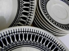 Gorgeous vintage black and white dishes!