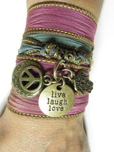 Bohemian Silk Wrap Bracelet Hamsa Fatima Hand Wrap Bracelet Boho Chic Jewelry Yoga Peace Bracelet Namaste Peace Jewelry Unique Gift For Her