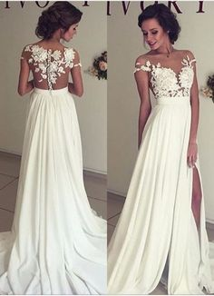 Summer Beach Chiffon Wedding Dresses, Lace and Chiffon Wedding Dress, A-line Wedding Dresses, Charming Prom Dresses, Lace Top Short Sleeves by prom dresses, $112.00 USD