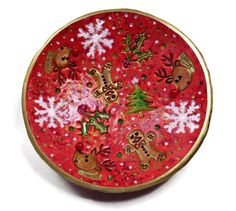 """""""This Christmas bowl is spectacular! The colors are so bright and festive as are the designs. I love having these bowls around the house to put little treasures in. """" Nona W. http://etsy.me/2iZ0bzh #etsy #jewelry #red #lovefriendship #Christmas   #ringdish #gifts"""
