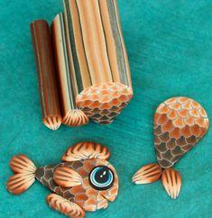 GROTE Set van 3 oranje Polymer Clay Canes 'Deep Blue