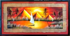 Original oil on papyrus painting by Said of Cairo depicting the pyramids of Giza