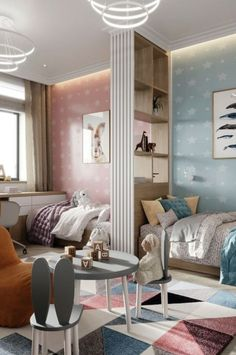35 Fascinating Shared Kids Room Design Ideas - Planning a kid's bedroom design can be a lot of fun. It can also be a daunting task as you tackle the issue of storage and making things easy to clean. Room, Room Design, Shared Bedrooms, Shared Girls Bedroom, Home, Children Room Boy, Bedroom Design, Boy And Girl Shared Room, Kids Shared Bedroom